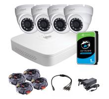 Комплект видеонаблюдения внутренний 2 Мп: видеорегистратор XVR4104C-X1, 4 камеры HAC-HDW1200MP-0280B, жесткий диск, блок питания, разветвитель питания, 4 BNC-power кабеля