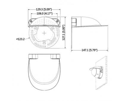 Захисний піддашок з кронштейном Dahua PFA200W для купольних камер