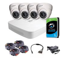 Комплект видеонаблюдения внутренний 4 Мп: видеорегистратор XVR5104C-I3, 4 камеры DH-HAC-HDW1400MP (2.8 мм), жесткий диск, блок питания, разветвитель питания, 4 BNC-power кабеля