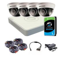 Комплект видеонаблюдения внутренний 2 Мп: видеорегистратор DS-7104HQHI-K1(S), 4 камеры DS-2CE56D0T-IRMMF (C) (2.8 мм), жесткий диск, блок питания, разветвитель питания, 4 BNC-power кабеля