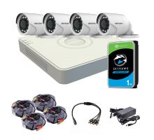 Комплект видеонаблюдения для улицы 2 Мп: видеорегистратор DS-7104HQHI-K1(S), 4 камеры DS-2CE16D0T-IRF (C) (3.6 мм), жесткий диск, блок питания, разветвитель питания, 4 BNC-power кабеля