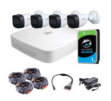Комплект видеонаблюдения для улицы 2 Мп: видеорегистратор XVR4104C-X1, 4 камеры DH-HAC-HFW1200CP (2.8 мм), жесткий диск, блок питания, разветвитель питания, 4 BNC-power кабеля