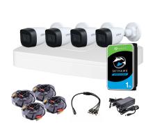 Комплект видеонаблюдения для улицы 4 Мп: видеорегистратор XVR5104C-I3, 4 камеры DH-HAC-HFW1400CP (2.8 мм), жесткий диск, блок питания, разветвитель питания, 4 BNC-power кабеля