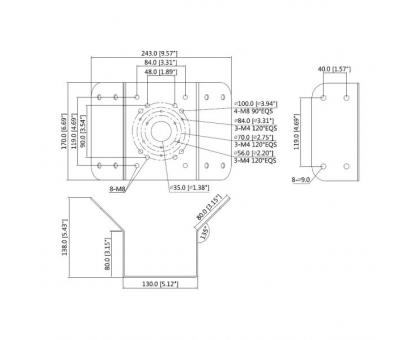 Кутовий кронштейн Dahua DH-PFA151 для встановлення камер